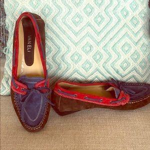 Van Eli colorblock suede driving loafer, size 8